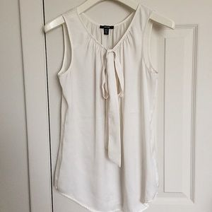 Satin Tank Top With Tie Front